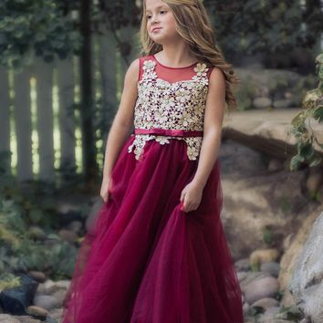 Fiona Wine & Gold Flower Lace Gown Dress