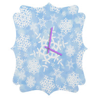 Lisa Argyropoulos Snow Flurries in Blue Quatrefoil Clock