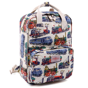 Women's Train Printed Canvas Laptop Backpack School Bookbag Travel Daypack + Free Gift Cute Elephant Ring