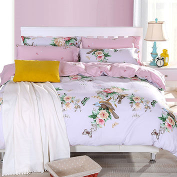2016 new Floral print bedding sets twin full queen king size bedcover 100% Cotton bed Linen set pink