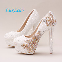 Women's Crystal Wedding Pearl Rhinestone Bridal Platform Pumps High Heels