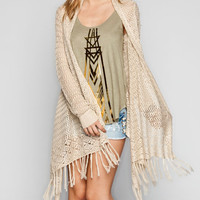 Full Tilt Open Weave Womens Fringe Wrap Sweater Natural  In Sizes