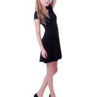 Everyday Black Short Sleeve Skater Dress