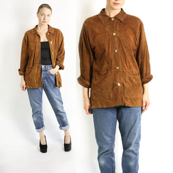 Vintage 80's 90's Camel Brown Soft Leather Suede Shirt Jacket