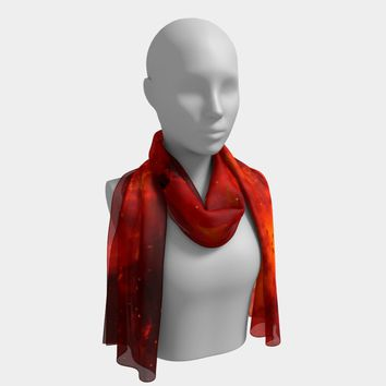 Long Scarf Red Cloud Print