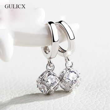 GULICX Fashion White/Gold-color Drop Earrings for Women Long Dangle Earing Crystal CZ Zircon Statement Wedding Ball Jewelry E304
