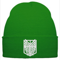 ATTACK ON TITAN white Bucket Hat - Beanie Cuffed Knit Cap