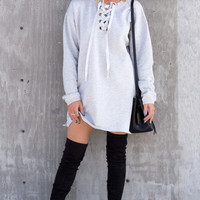 Lace Up Sweatshirt Dress - Heather Grey