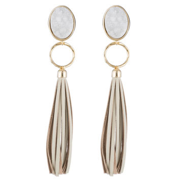 Druzy and Long Leather Tassel Clip Earring | Alexis Bittar