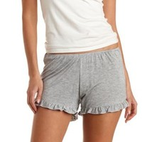 Heather Gray Ruffle-Trimmed Lounge Shorts by Charlotte Russe