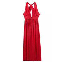 Red Plunging V-Neck Halter Maxi Dress