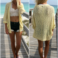 Raglan Beach Open Front Pocket Yellow Cardigan
