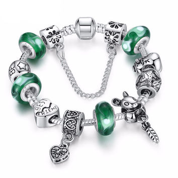 "Silver Green ""Best Friend"" Charm Bracelet - Silver"