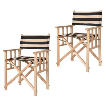 "34"" Set Of 2 Folding Makeup Director Chairs Wood Camping Fishing Stripe"