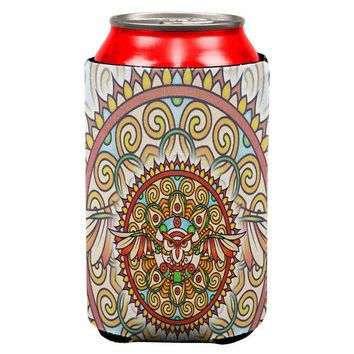 LMFCY8 Mandala Trippy Stained Glass Owl All Over Can Cooler