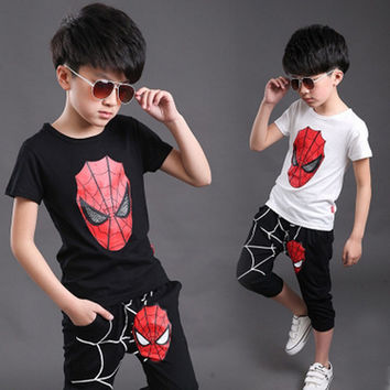Kids Clothes Toddler Boys Summer Clothing Spiderman Baby Boys Cotton Print Tops+Pants Set Children Costume Sport Suits