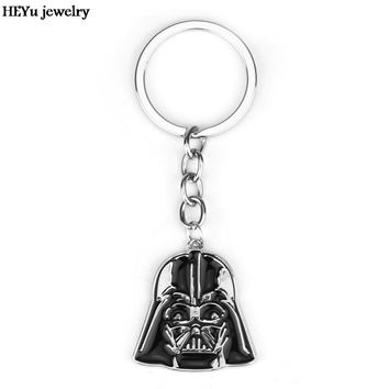 star wars darth vader silicone keychain cute key chain new design for key Black enamel porte clef keychain car