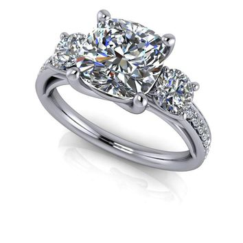 Three Stone Cushion Cut Engagement Ring Setting -  Forever One Moissanite and Diamonds
