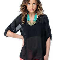 Solid Chiffon Sleeve-Button Top | Sexy Clothes Womens Sexy Dresses Sexy Clubwear Sexy Swimwear | Flirt Catalog