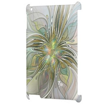 Floral Fantasy, Abstract Fractal Art Monogram iPad Covers