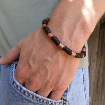 Men's Leather and Copper Bracelet, Leather Bracelet, Copper Bracelet, Men's Copper Bracelet, Men's Leather Bracelet