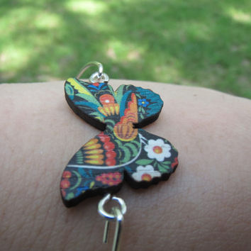 Laser Cut - Handcrafted - 19x27mm Colorful Wooden Butterfly Pendant - 65mm Silver Bangle - Wood Jewelry