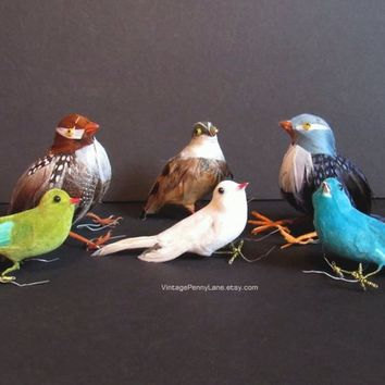 6 Vintage Birds, Salvaged Floral Embellishment Birds, Real Feathers