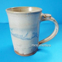 Studio Handcrafted Pottery Coffee Mug Blue Brown Glazed Artist Signed 12 oz