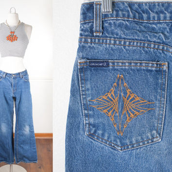 Vintage 1970s Jeans / High Waisted Jeans / 70s Bell Bottom Jeans / Boyfriend Jeans / Relaxed Fit Denim Jeans / Embroidered Jeans