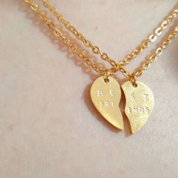 18k Gold Best friends Necklace ,Heart necklace,bestfriends necklace, layered necklace,Birthday gift,custom necklace,heart beat necklace