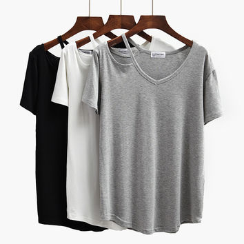 Modal Women's Cotton Solid T Shirt