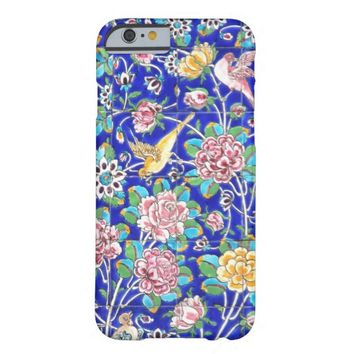 Vintage damask blue floral pink rose bird tile barely there iPhone 6 case