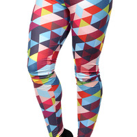 BadAssLeggings Women's Artsy Triangles Leggings Medium