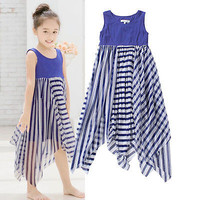 Hot Baby Girls Kids Princess Sleeveless Summer Beach Dress Striped Dress 3-8Y