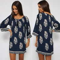 Vintage Style Women Casual Loose O-Neck 3/4 Sleeve Print Summer Beach Dress 7_S SV023244 = 1931500676