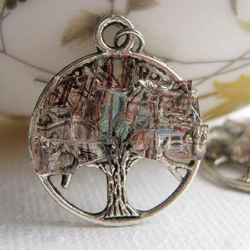 Stained Glass Silver Tree Earrings