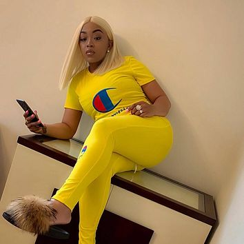 Yellow CHAMPION Top and Pants Set Sportswear H8857