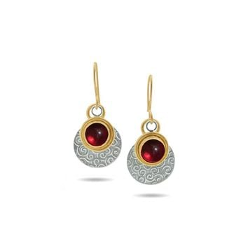 ALL NEW Brushstrokes Ruby, Gold and Silver Earrings