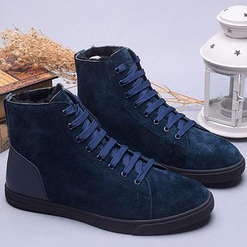 LFMON UGG 1008165 Tall Suede Men Fashion Casual Wool Winter Snow Boots Dark Blue 39-44