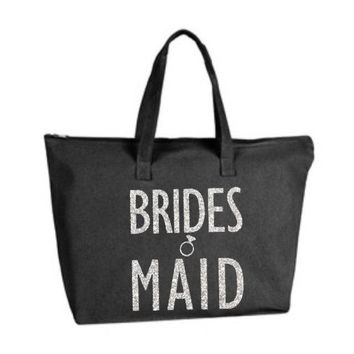 Silver Gold or your choice Glitter Bridesmaid Black Large Tote Bag with zipper closure Bridesmaid, Bridal, Wedding, Bachelorette Party Gift