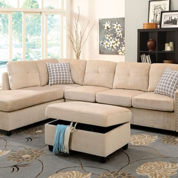 Acme 52705 2 pc belville beige velvet fabric sectional sofa with reversible chaise