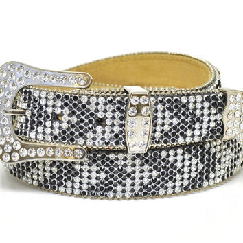 Nocona Ladies Western Arrow Mesh Rhinestone Leather Belt