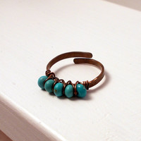 Turquoise Copper Ring,  Wire Wrapped Rustic Adjustable Ring