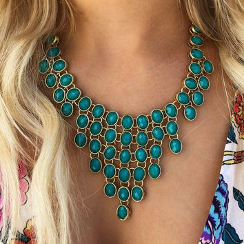 You And Me Necklace: Teal/Gold