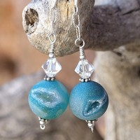 Druzy Earrings Aqua Agate Swarovski Handmade Jewelry Gemstone Sparkly