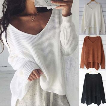USA Women's Long Sleeve Loose Cardigan Knitted Sweater Jumper Knitwear Outwear