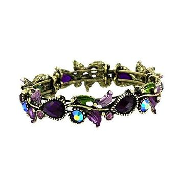 DianaL Boutique Adjustable Cuff Bangle Bracelet Purple Crystal Flower Enamel Gift Boxed Fashion Jewelry