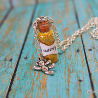 Winnie the Pooh,  Magical HuNnY Necklace with a Pooh Bear Charm, Many Adventures of Winnie the Pooh, by Life is the Bubbles