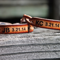 Custom Engraved Braided Leather Bracelet SET of TWO--Initials and Anniversary Date Shown