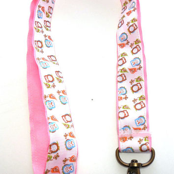 Owl Pastel Ribbon Lanyard ID Holder
